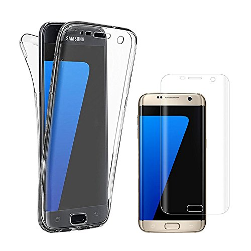 Galaxy S7 Edge Case,AMASELL Full Dody Coverage Case Front and Back Protective Case Shockproof TPU Gel Transparent Clear Cover for Samsung Galaxy S7 Edge With Screen Protector,Clear+Screen Protector