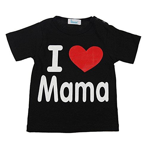 Price comparison product image Zhengpin I Love Papa Mama Summer Baby Clothes Unisex Boy Girl Short Sleeve Cotton T-shirt (XL(19-24Months),  BlackB)