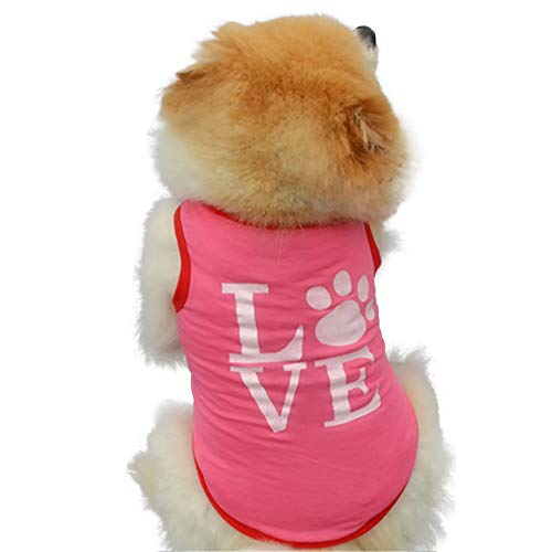 Pet Clothes Puppy Dog Cat Pink Footprints Printed Vest T Shirt Apparel Clothing Pet Dog Summer Polyester Vest Cute Puppy Cat Cartoon Sleeveless Shirt