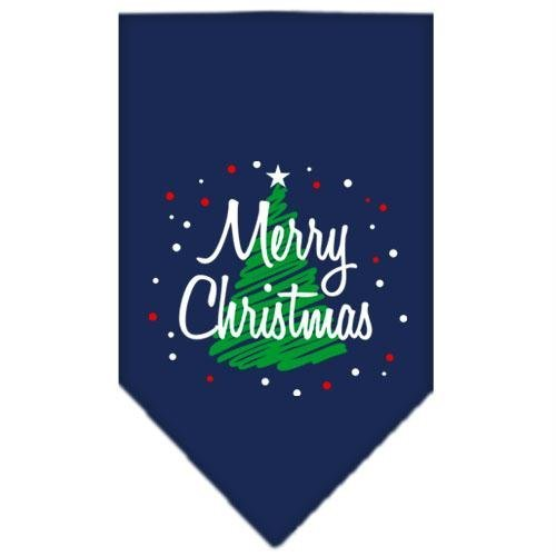 Mirage Pet Products Scribble Merry Christmas Screen Print Bandana for Pets, Large, Navy Blue (Bandana Screen Print)