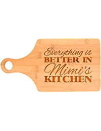 Favor Everything Is Better in Mimi's Kitchen Décor Grandma Gift Paddle Shaped Bamboo Cutting Board Bamboo save