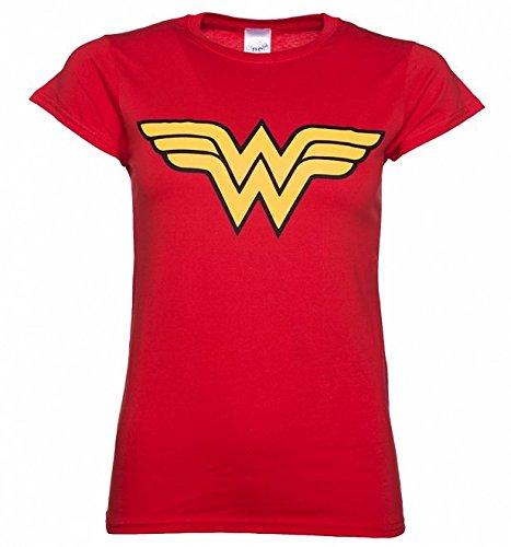Wonder Woman Logo Ladies T Shirt, Red (X-Large)