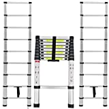 2.6m Multi-Purpose Alloy Aluminum Retractable Multifunctional Ladder Telescopic Single Straight Extension Extendable Folding Step Ladder 330lb Maximum Load