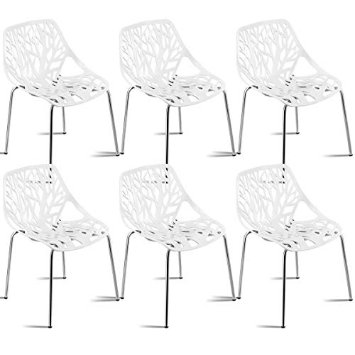 Giantex Set of 6 Modern Dining Chairs Birds Nest Set Modern Stackable Plastic Hollow-Out Geometric Style Furniture Outdoor Indoor Dining Side Chair (6 Packs, White) (Table Outdoor Metal White Dining)