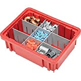 Plastic Dividable Grid Container , 10-7/8''L x 8-1/4''W x 3-1/2''H, Red - Lot of 20