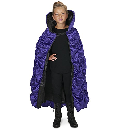 [Purple & Black Reversible Cape Child] (Maleficent Halloween Costumes For Girl)