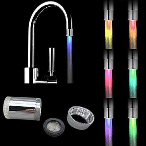 2 Pack LED Water Faucet,Automatic 7 Colour Changing LED Water Stream Faucet Tap for Kithen and Bathroom