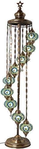 Antique Mosaic - DEMMEX - 9 Big Globes Turkish Moroccan Mosaic Floor Lamp Light, Bohemian Boho Tiffany Mosaic Floor Lamp with North American Plug & Socket, 65