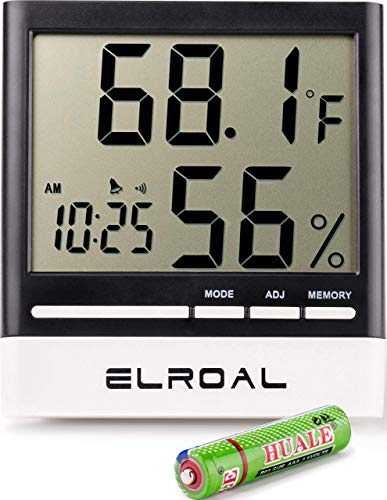 Price comparison product image Elroal Humidity Monitor Digital Indoor Hygrometer - Thermometer - Alarm Clock with LCD Display - Temperature Gauge Humidity Meter for Home or Greenhouse,  Basement or Office