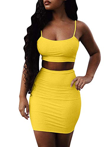 XXTAXN Women Mini Spaghetti Strap Square Neck Bodycon Crop Top with Skirt,2 Piece,Yellow,Large