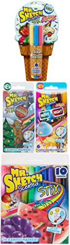 Mr. Sketch Stix Scented Markers, 28 Pack, Includes Original, Movie Night, Holiday, and Ice Cream Sets ()