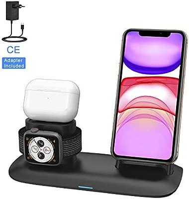 SIMPFUN Cargador Inalámbrico, 3 en 1 Estación de Carga Rápida Qi Soporte de Carga para Apple iWatch Series 3/2/1, AirPods 2, iPhone 11/XS/XR/8, ...
