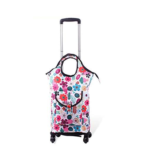 ZHAS RTTgw Shopping Trolleys Shopping cart Floral Lightweight wear-Resistant Ultra-Thin Fiber Shopping cart (Color : B)