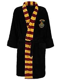 Official Men's Harry Potter Hogwarts Crest Adult Black Dressing Gown Bathrobe