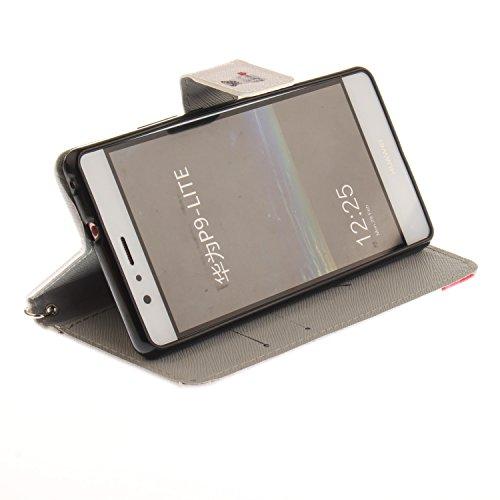 Para Huawei P9 Lite funda, (magnolia) caja del teléfono de la PU patrón en pintado ,Función de Soporte Billetera con Tapa para Tarjetas correa de mano soporte para teléfono doguillo