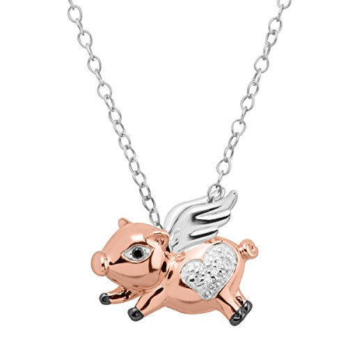 Flying Pig Pendant Necklace with Diamonds in Three-Tone Sterling ()