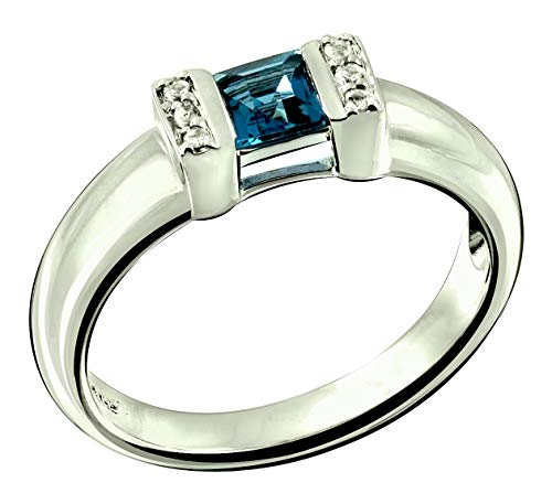 RB Gems Sterling Silver 925 Ring Genuine Gems Square 4 mm, Rhodium-Plated Finish, Solid Shank, Bezel Set (5, london-blue-topaz)