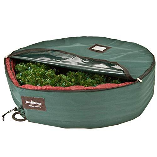 "72"" Large Black Christmas Wreath Protective Storage Bag with Handles"