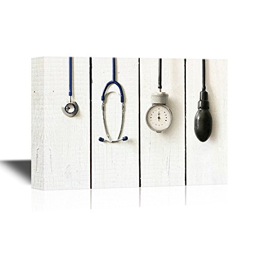 wall26 Canvas Wall Art - Medical Apparatus and Instruments on Wood Style Background - Gallery Wrap Modern Home Decor | Ready to Hang - 16x24 inches Antique Medical Instruments