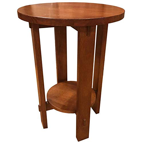 Crafters and Weavers Mission Oak Round End Table - Golden Brown (Amish Weavers Furniture)