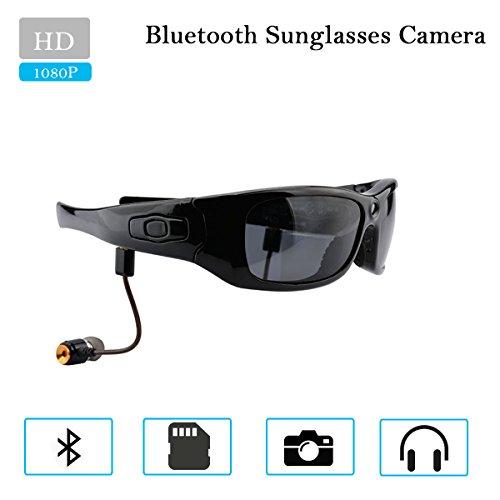 Camakt Bluetooth Sunglasses Camera, Full HD 1080P Digital Camera Video Recording/Headset/MP3 Player/Polarized Glasses for Smart Phones
