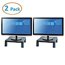 "Halter Height Adjustable Monitor Stand - Printer Stand - Desk Shelf - Monitor Riser For Screens Up To 24"" (24 Inches) - 2 Pack"