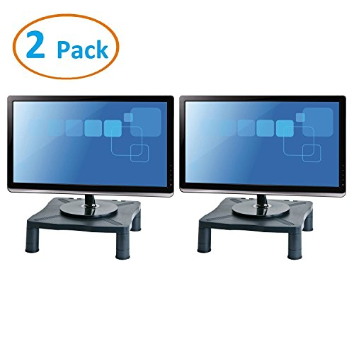 Halter Height Adjustable Monitor Stand - Printer Stand - Desk Shelf - Monitor Riser For Screens Up To 24' (24 Inches) - 2 Pack