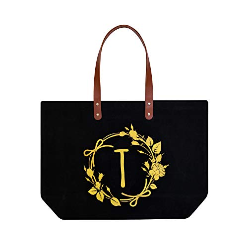 ElegantPark T Initial Monogram Personalized Party Gift Tote Black Large Shoulder Bag with Interior Zip Pocket Canvas