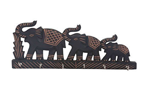 Wooden Key Holder Triple Elephant Design, Black Color Key Hangers, Wooden key holder, wall key holders, Key Hook, wall key hanger, Length - 13.5 Inch