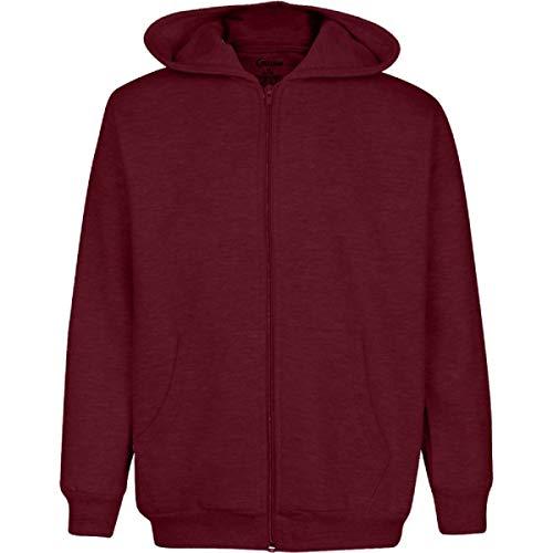Premium Full Zip Boys Hooded Fleece - Comfortable & Warm Boys Fleece Hoodie Burgundy 7/8 (Burgundy Workout Jacket)