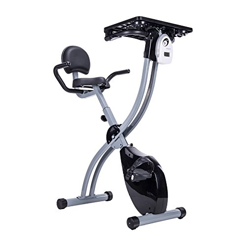 Pinty Recumbent Cycling Workstation, Foldable Upright Exercise Bike with Adjustable Magnetic Resistance, Laptop Table Removable