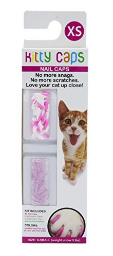 Kitty Caps Kitty Caps Nail Caps for Cats | Safe & Stylish Alternative to Declawing | Stops Snags and Scratches, X-Small (Under 5 lbs), White with Pink Tips & Clear with Pink Glitter
