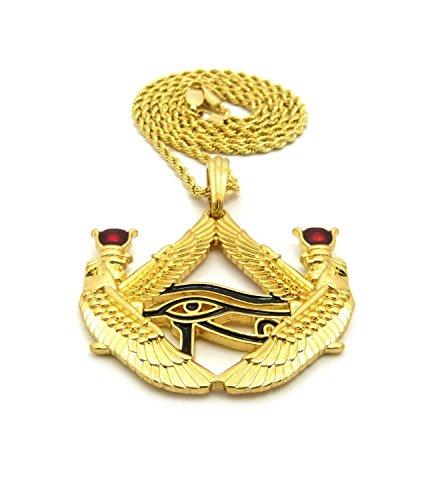 Shiny Jewelers USA Mens Egyptian Red Stone Eye of Horus Hip Hop Pendant 24