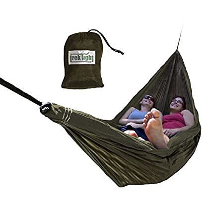 Trek Light Gear Double Hammock - The Original Brand of Best-Selling Lightweight Nylon Hammocks - Extra Wide for the Most Comfort - Use for All Camping, Hiking and Outdoor Adventures {Green}
