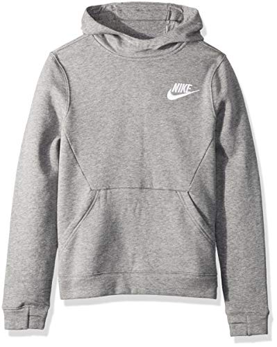 NIKE Sportswear Boys' Club Pullover Hoodie, Carbon Heather/Carbon Heather/White, -