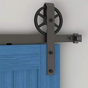CCJH 122CM/4FT Herraje para Puerta Corredera Kit de Accesorios riel, Guía de suelo ajustable: Amazon.es: Bricolaje y herramientas