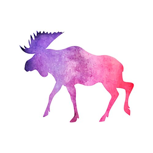 Moose Atv - Watercolor Moose Violet Purple and Pink - Vinyl Decal for Outdoor Use on Cars, ATV, Boats, Windows and More - Color 4 inch