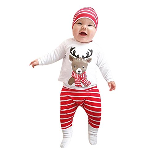 Baby Girl Boy Tops T-shirt+Pants Leggings Hat 4pcs Outfits Set (White+Black) - 6