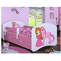 HB Barnsäng med madrass och sänglåda, olika varianter flickor ROSA (160 x 80 cm, prinsessa med enhörning)