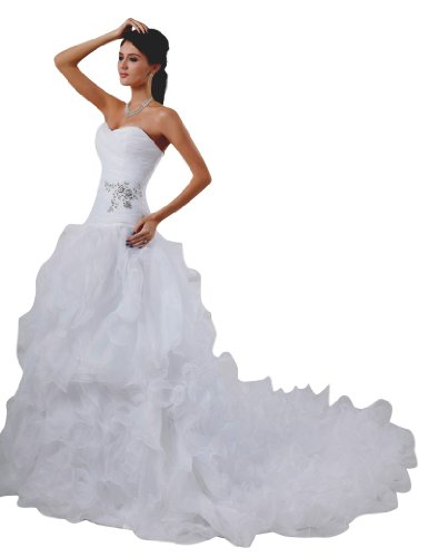 JOLLY BRIDALS Organza Beaded Sweetheart Lace Up Wedding Dress, Ivory, Size 10