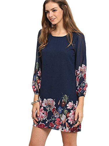 Floerns Womens Casual Floral Print Chiffon Sleeve A-Line Shift Mini Dresses