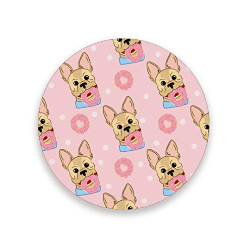 (YYZZH Funny French Bulldog Dog With Donut Dessert On Pink Polka Dot Coasters for Drinks Set of 1/2/4 Round Cup Mat Pad Present Housewarming Birthday or Holiday Party )