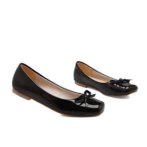 Amoonyfashion Damesschoenen Met Lage Hak Stevige Microfiber Vierkante Neus Pumps-schoenen Zwart