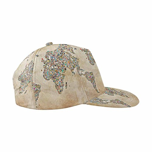 InterestPrint Collage in The Shape of World Map, Vintage Athletic Baseball Fitted Cap