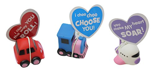 12 Cute Vehicle Valentines Day Cards for Kids Exchange - Unique - 1 Dozen Bulk