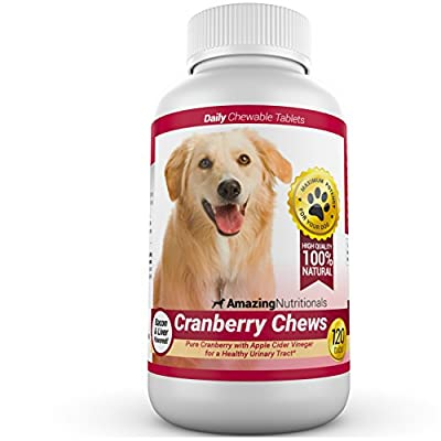 Amazing Cranberry for Dogs Pet Antioxidant, Urinary Tract Support Prevents and Eliminates UTI in Dogs, 120 Chews from Amazing Nutritionals