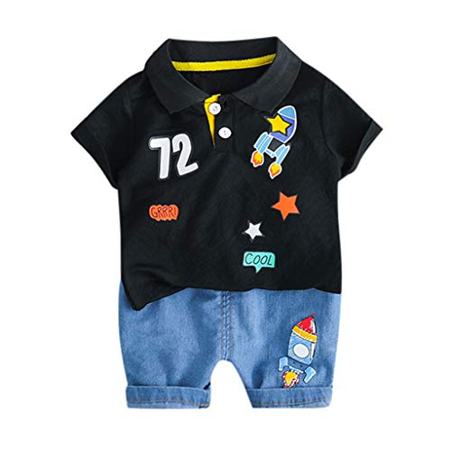 Tronet Summer Outfits Set Infant Baby Short Sleeve Solid T-Shirt Tops+Striped Shorts Outfits Sets