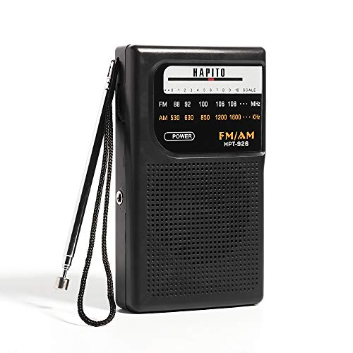 Portable Pocket Transistor Radio Battery Operated AM/FM Radio - Best Reception, Longest Lasting, Built-in Speaker and 3.5mm Headphone Jack for Walking Hiking Camping (Black)
