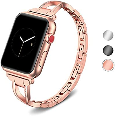 SUPERSUN para Correa Apple Watch 42mm Rosa, Correa iwatch Acero Inoxidable Reemplazo de Banda para Apple Watch Series 4 44mm, Series 3/Series 2/Series ...