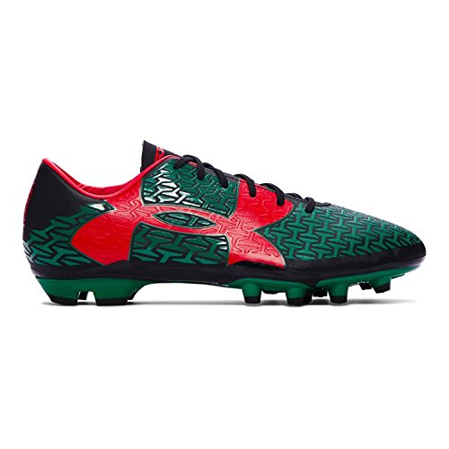 Under Armour Mens CF Force 2.0 FG Soccer Cleats, Black/Red/Green, 9 D(M) US